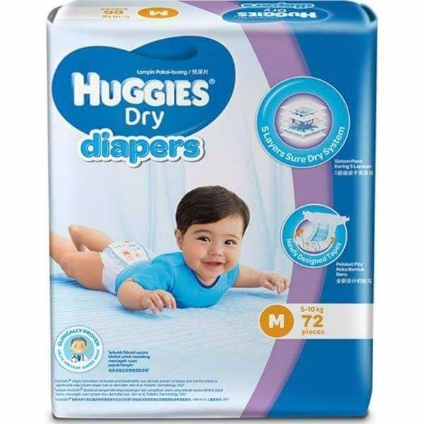 Huggies Dry Diapers Small 60 Pcs 3-7kg (Belt System) 1