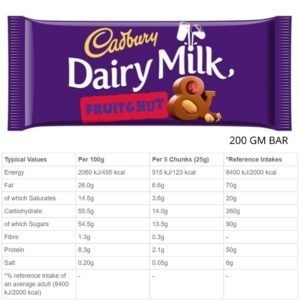 CHOCOLATE CADBURY D.M FRUIT & NUT 200 GM.