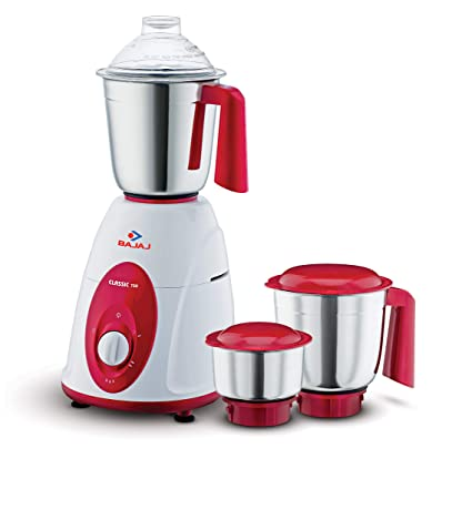 Bajaj Classic Mixer Grinder, 750W, 3 Jars (White and Maroon)