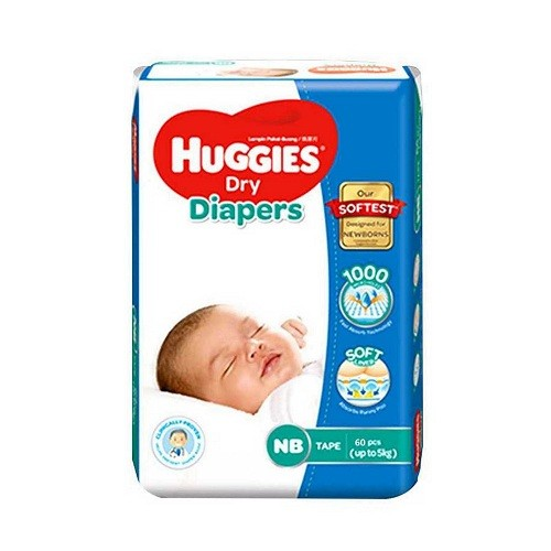 Huggies Dry Baby Diaper New Born Belt Up to 5 kg 60 pcs