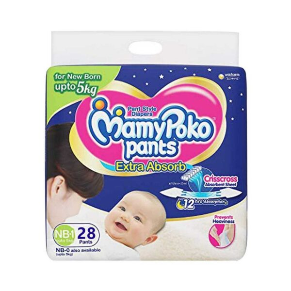 MamyPoko Pants Diaper (Pant) New Born 0-5 kg 28 pcs